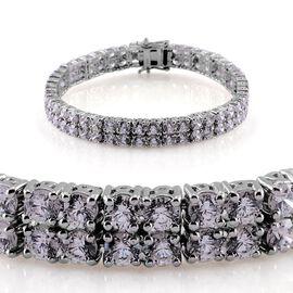 J Francis - Platinum Overlay Sterling Silver (Rnd) Bracelet Made with SWAROVSKI ZIRCONIA (Size 7.5) 20.000 Ct.