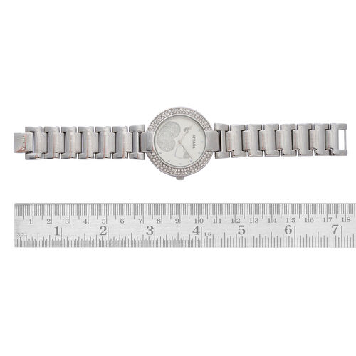 STRADA Japanese Movement Stardust White Dial White Austrian Crystal Water Resistant Watch in Silver Tone Strap