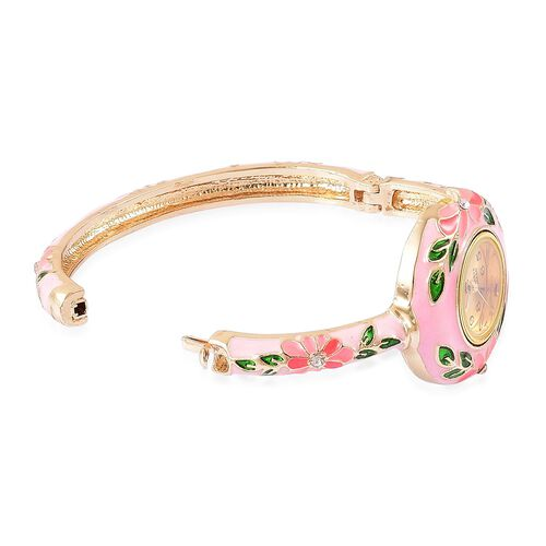 STRADA Japanese Movement White Austrian Crystal Pink Enameled Floral Bangle Watch in Gold Tone