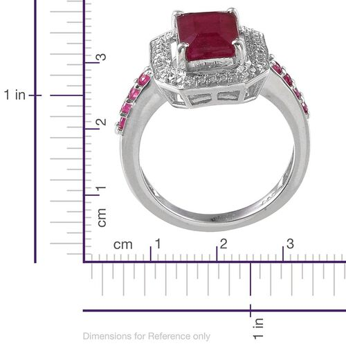 African Ruby (Oct 4.00 Ct), Diamond Ring in Platinum Overlay Sterling Silver 4.260 Ct.