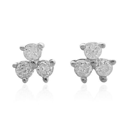 9K White Gold SGL Cerified Diamond Trilogy Stud Earrings with Push Back (I3/G-H)