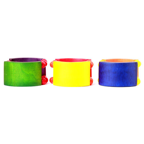 Set of 3 - Handmade Adjustable Colourful Wood Bangle