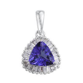 ILIANA 18K W Gold AAA Tanzanite (Trl 1.00 Ct), Diamond (SI-G-H) Pendant 1.150 Ct.