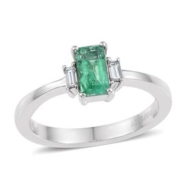 RHAPSODY 950 Platinum Boyaca Colombian Emerald (Oct 0.60 Ct), Diamond Ring 0.750 Ct.