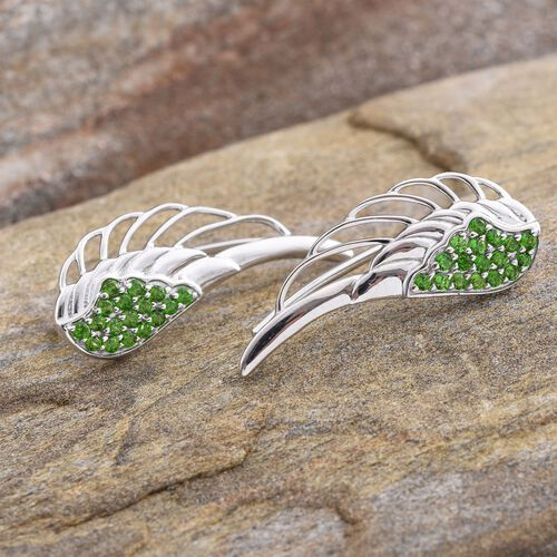 Russian Diopside (Rnd) Angel Wing Earrings in Platinum Overlay Sterling Silver 0.750 Ct.