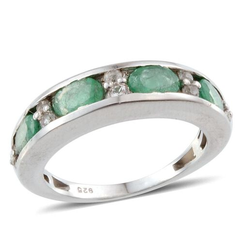 Kagem Zambian Emerald (Ovl), White Topaz Half Eternity Band Ring in Platinum Overlay Sterling Silver 2.000 Ct.