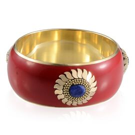 Jewels of India Red and Sapphire Bangle (Size 65 MM - Blue)