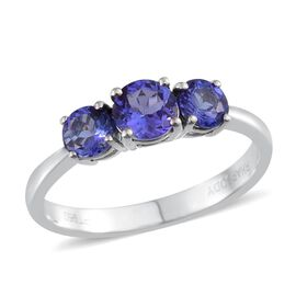 RHAPSODY 950 Platinum AAAA Tanzanite (Rnd 0.70 Ct) 3 Stone Ring 1.500 Ct.