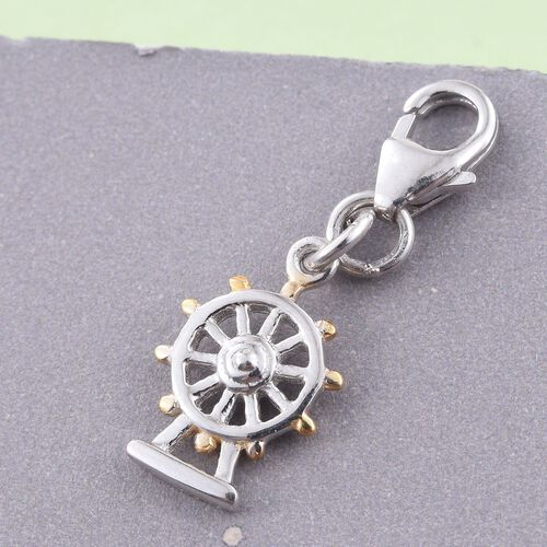 Platinum and Yellow Gold Overlay Sterling Silver London Eye Charm, Silver wt 5.10 Gms.