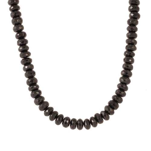 Thai Black Spinel (500.00 Ct) Sterling Silver Necklace (Size 18)  500.000  Ct.