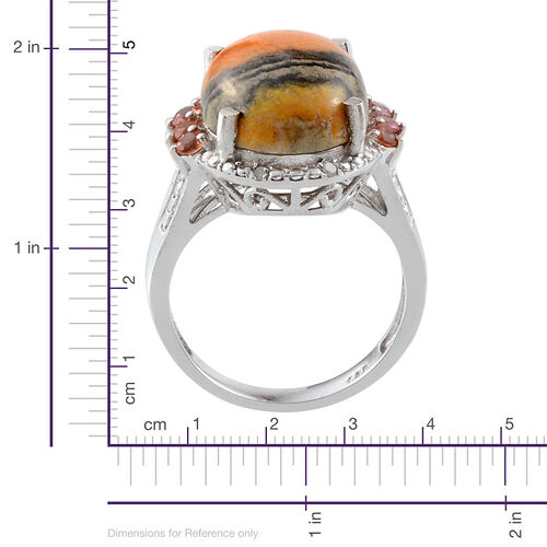 Bumble Bee Jasper (Ovl 7.50 Ct), Orange Sapphire and Diamond Ring in Platinum Overlay Sterling Silver 7.930 Ct.