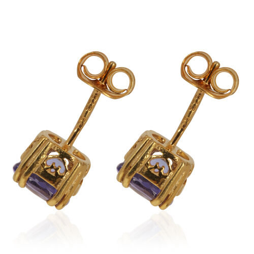 Tanzanite (Ovl) Earrings in 14K Gold Overlay Sterling Silver 1.400 Ct.