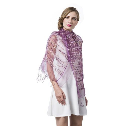Purple and White Colour Small Tassel Flowers Embellished Scarf (Size 160X65 Cm)