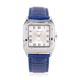 GENOA Japanese Movement Sunshine White Dial Water Resistant Watch in Silver Tone with Stainless Steel Back and Blue Colour Croc Embossed Strap