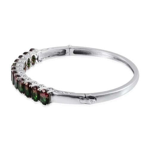 Tourmaline Colour Quartz (Ovl) Bangle in Platinum Overlay Sterling Silver (Size 7.5) 15.000 Ct.