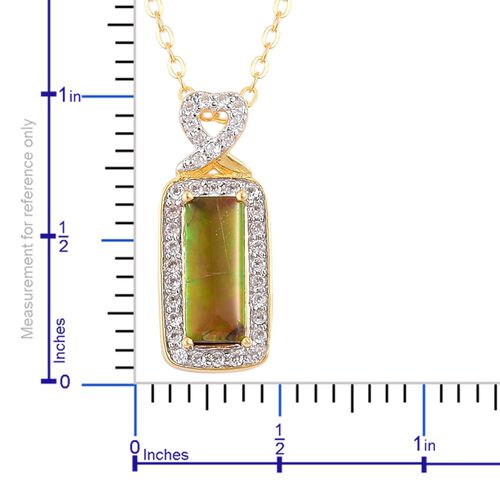AA Canadian Ammolite (Bgt 1.25 Ct), White Zircon Pendant With Chain in Yellow Gold Overlay Sterling Silver 1.500 Ct.