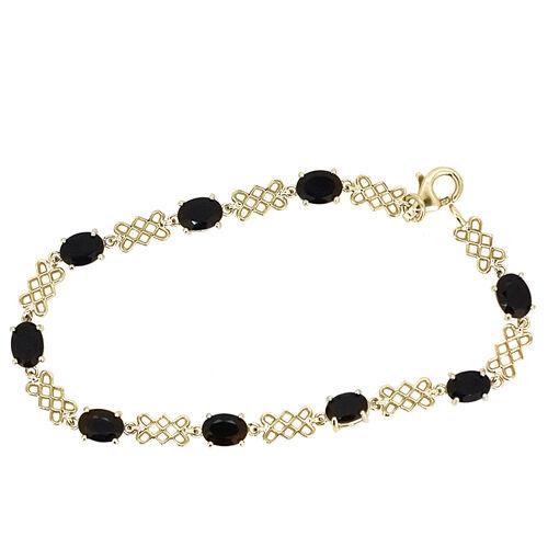 Boi Ploi Black Spinel (Ovl) Bracelet in 14K Gold Overlay Sterling Silver (Size 7) 9.000 Ct.