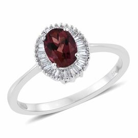ILIANA 18K White Gold 1 Carat AAA Pink Tourmaline Halo Ring With Diamond SI-GH