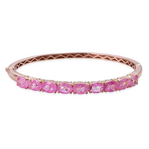 Hot Pink Crackled Quartz (Ovl) Bangle (Size 7.5) in ION Plated 18K Rose Gold Bond 10.250 Ct.
