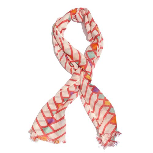 100% Viscose White, Red and Multi Colour Printed Scarf (Size 180x55 Cm)