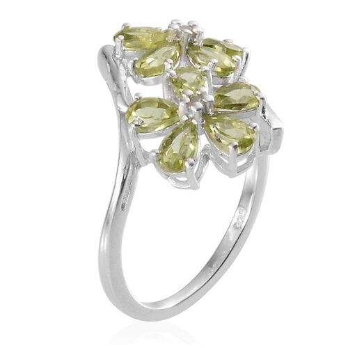 Hebei Peridot (Pear), Diamond Twin Floral Ring in Platinum Overlay Sterling Silver 2.030 Ct.