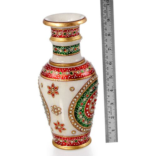Jewels of India Hand Crafted Crystal Studded and Green Enameled Marble Vase (Size 9)