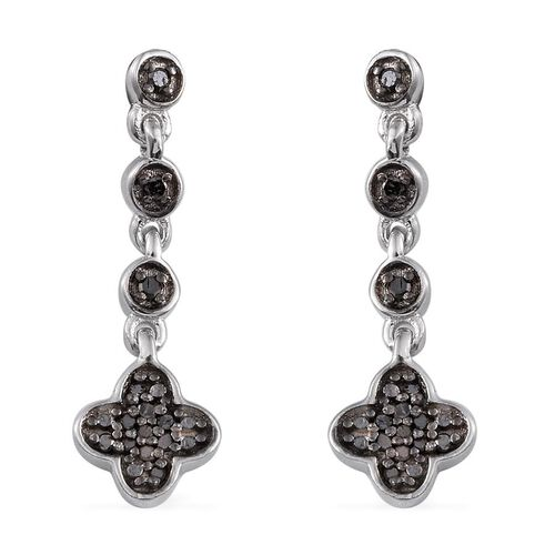 Black Diamond (Rnd) Earrings (with Push Back) in Platinum Overlay Sterling Silver 0.150 Ct.