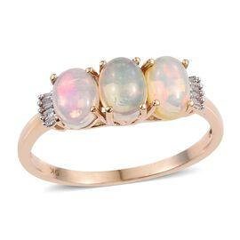 9K Y Gold Ethiopian Welo Opal (Ovl), Diamond Ring 1.750 Ct.