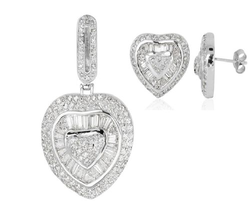 AAA Simulated Diamond Heart Pendant and Earrings (with Push Back) in Sterling Silver