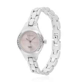 STRADA Japanese Movement Sunshine Pattern Silver Dial with White Austrian Crystal Water Resistant Watch in Silver Tone with Stainless Steel Back and Chain Strap