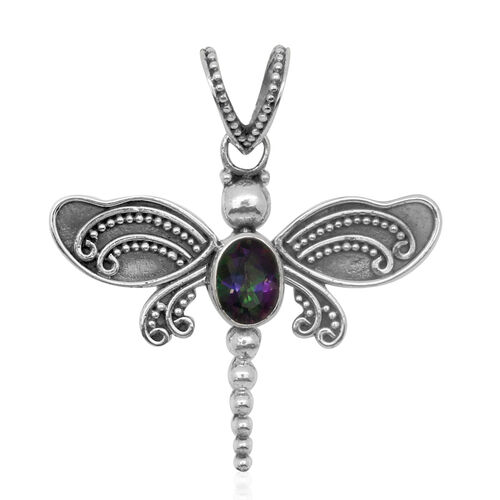 Royal Bali Collection Northern Lights Mystic Topaz (Ovl) Dragonfly Pendant in Sterling Silver 1.410 Ct.