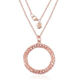 RACHEL GALLEY Rose Gold Overlay Sterling Silver Allegro Pendant With Chain (Size 30), Silver wt 12.45 Gms.