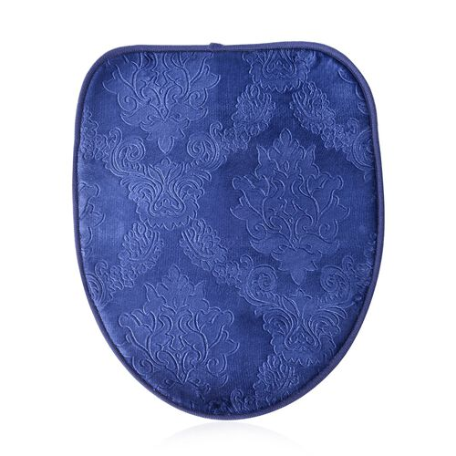 Set of 3 - Blue Colour Leaves and Filigree Pattern Bath Mat (Size 80x50 Cm), Toilet Cover (Size 45x40 Cm) and Counter Mat (Size 50x40 Cm)