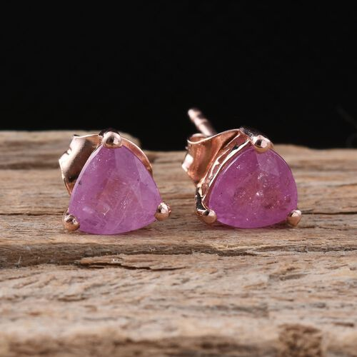 Pink Sapphire (Trl) Stud Earrings (with Push Back) in Rose Gold Overlay Sterling Silver 2.250 Ct.