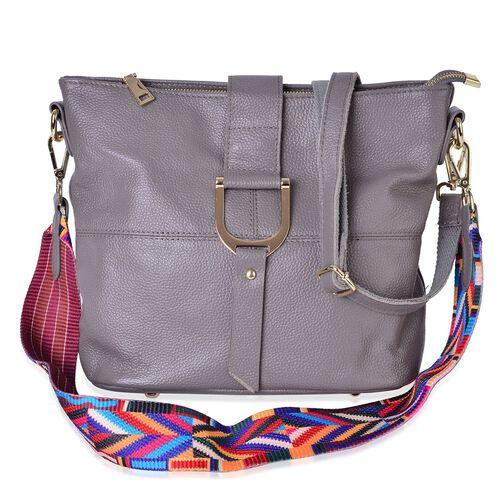 Genuine Leather Dark Grey Colour Shoulder Bag (Size 29x26x23x13 Cm) with External Zipper Pocket and Multi Colour Removable Shoulder Strap