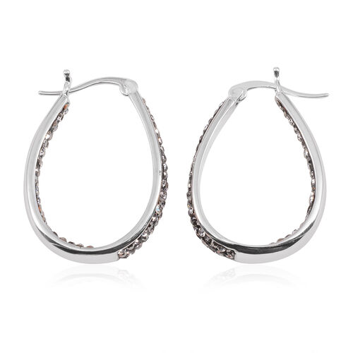 Grey Austrian Crystal Hoop Earrings (with Clasp) in Silver Bond