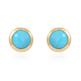 Arizona Sleeping Beauty Turquoise (Rnd) Stud Earrings (with Push Back) in 14K Gold Overlay Sterling Silver 0.750 Ct.