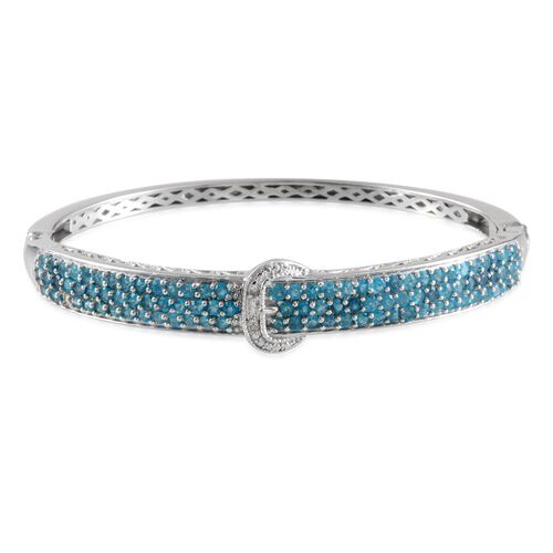 Malgache Neon Apatite (Rnd), Diamond Buckle Bangle (Size 7.5) in Platinum Overlay Sterling Silver 3.510 Ct.