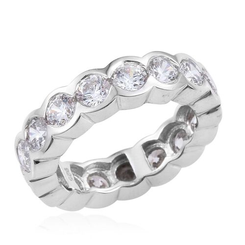 J Francis - Platinum Overlay Sterling Silver (Rnd) Full Eternity Ring Made with SWAROVSKI ZIRCONIA