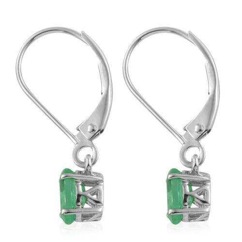 9K White Gold 1 Carat Boyaca Colombian Emerald Oval Lever Back Earrings