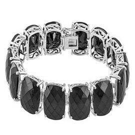 Checkerboard Faceted  Boi Ploi Black Spinel (Cush) Bracelet in Rhodium Plated Sterling Silver (Size 7) 120.000 Ct.