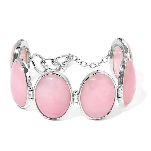 One Off Deal - Designer Inspired - Hand Set - Rare Size AAA Rose Quartz Bracelet (Size 7-8) in Hypoallergenic Stainless Steel 125.000 Ct.