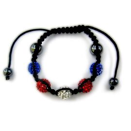 Hematite, Red, White and Blue Austrian Crystal Bracelet (Adjustable) 6.00 Ct.