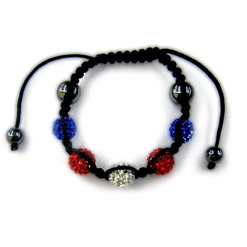 Hematite, Red, White and Blue Austrian Crystal Bracelet (Adjustable) 6.00 Ct.