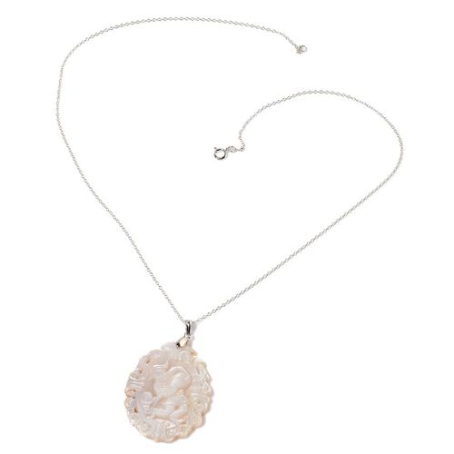 White Shell ZODIAC Aquarius Pendant With Chain in Sterling Silver