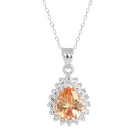 Close Out Deal AAA Simulated Champagne and White Diamond Pendant with Chain in Rhodium Plated Sterling Silver 5.500 Ct.