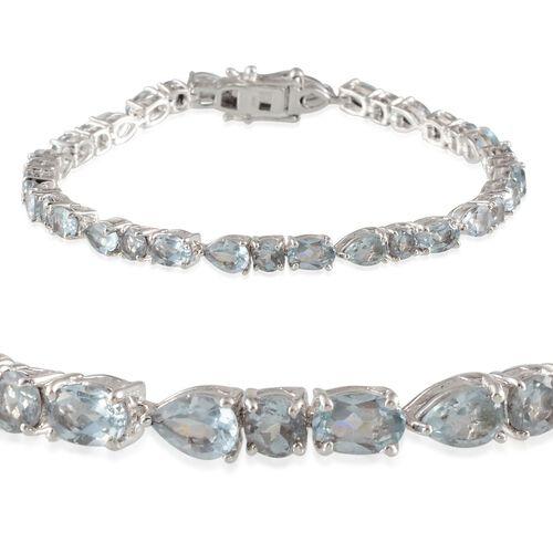 Sky Blue Topaz (Ovl) Bracelet in Platinum Overlay Sterling Silver (Size 7) 15.750 Ct.
