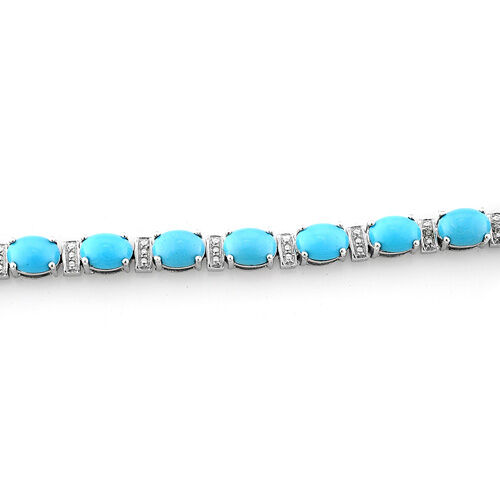Arizona Sleeping Beauty Turquoise (Ovl), White Topaz Bracelet (Size 7.5) in Platinum Overlay Sterling Silver 11.501 Ct.