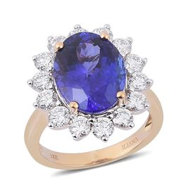 ILIANA 18K Y Gold AAA Tanzanite (Ovl 6.75 Ct), Diamond Ring 8.650 Ct.