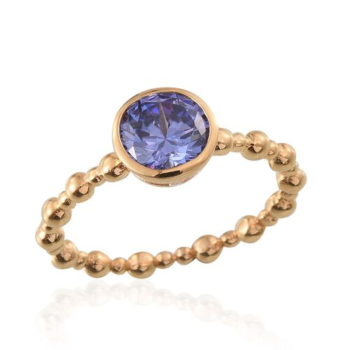 AAA Simulated Tanzanite (Rnd) Solitaire Ring in 14K Gold Overlay Sterling Silver